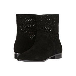 MICHAEL KORS Boots Black Perforated Suede Leather Pull On Ankle Boots